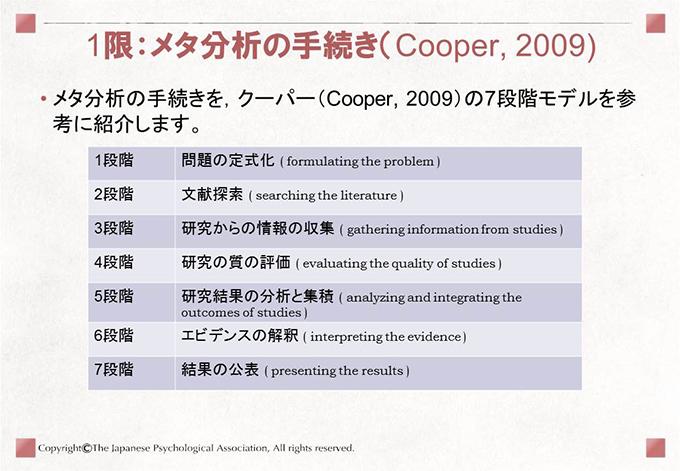 [1限:メタ分析の手続き(Cooper, 2009)]• メタ分析の手続きを,クーパー(Cooper, 2009)の7段階モデルを参考に紹介します。1段階 問題の定式化 ( formulating the problem )2段階 文献探索 ( searching the literature )3段階 研究からの情報の収集 ( gathering information from studies )4段階 研究の質の評価 ( evaluating the quality of studies )5段階 研究結果の分析と集積 ( analyzing and integrating theoutcomes of studies )6段階 エビデンスの解釈 ( interpreting the evidence )7段階 結果の公表 ( presenting the results )