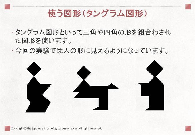 [使う図形(タングラム図形)]タングラム図形といって三角や四角の形を組合わされた図形を使います。今回の実験では人の形に見えるようになっています。