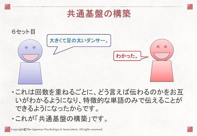 [共通基盤の構築]これは回数を重ねるごとに、どう言えば伝わるのかをお互いがわかるようになり、特徴的な単語のみで伝えることができるようになったからです。これが「共通基盤の構築」です。