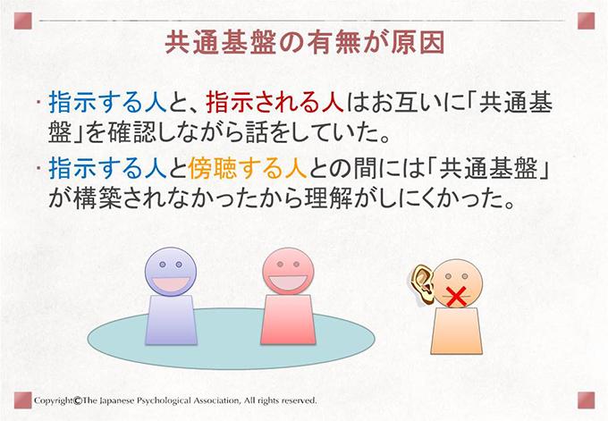 [共通基盤の有無が原因]指示する人と、指示される人はお互いに「共通基盤」を確認しながら話をしていた。指示する人と傍聴する人との間には「共通基盤」が構築されなかったから理解がしにくかった。