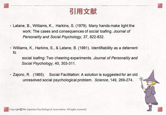 引用文献.Latane, B., Williams, K.,  Harkins, S. (1979). Many hands make light the work: The cases and consequences of social loafing. Journal of Personality and Social Psychology, 37, 822-832.Williams, K., Harkins, S., & Latane, B. (1981).Identifiability as a deterrent to social loafing: Two cheering experiments. Journal of Personality and Social Psychology, 40, 303-311.Zajonc, R. (1965). Social Facilitation: A solution is suggested for an old unresolved social psychological problem.  Science, 149, 269-274.