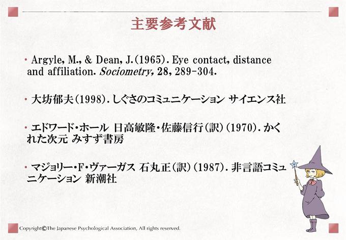 主要参考文献 Argyle, M., & Dean, J.(1965). Eye contact, distance and affiliation. Sociometry, 28, 289-304./大坊郁夫(1998). しぐさのコミュニケーション サイエンス社/エドワード・ホール 日高敏隆・佐藤信行(訳)(1970). かくれた次元 みすず書房/マジョリー・F・ヴァーガス 石丸正(訳)(1987). 非言語コミュニケーション 新潮社