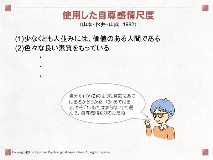 使用した自尊感情尺度(山本・松井・山成,1982) (1)少なくとも人並みには、価値のある人間である(2)色々な良い素質をもっている