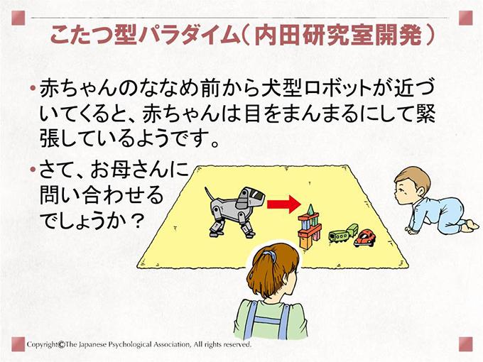 [こたつ型パラダイム(内田研究室開発)]赤ちゃんのななめ前から犬型ロボットが近づいてくると、赤ちゃんは目をまんまるにして緊張しているようです。さて、お母さんに問い合わせるでしょうか?