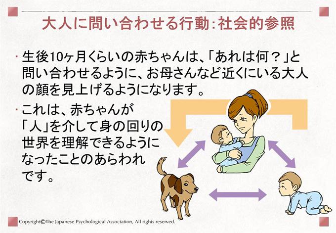 [大人に問い合わせる行動:社会的参照]生後10ヶ月くらいの赤ちゃんは、「あれは何?」と問い合わせるように、お母さんなど近くにいる大人の顔を見上げるようになります。これは、赤ちゃんが「人」を介して身の回りの世界(「何か」)を理解できるようになったことのあらわれです。