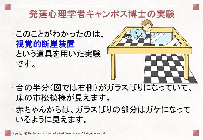 [発達心理学者キャンポス博士の実験]このことがわかったのは、視覚的断崖装置という道具を用いた実験です。台の半分(図では右側)がガラスばりになっていて、床の市松模様が見えます。赤ちゃんからは、ガラスばりの部分はガケになっているように見えます。