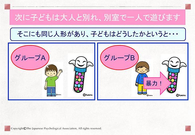 次に子どもは大人と別れ、別室で一人で遊びます そこにも同じ人形があり、子どもはどうしたかというと・・・
