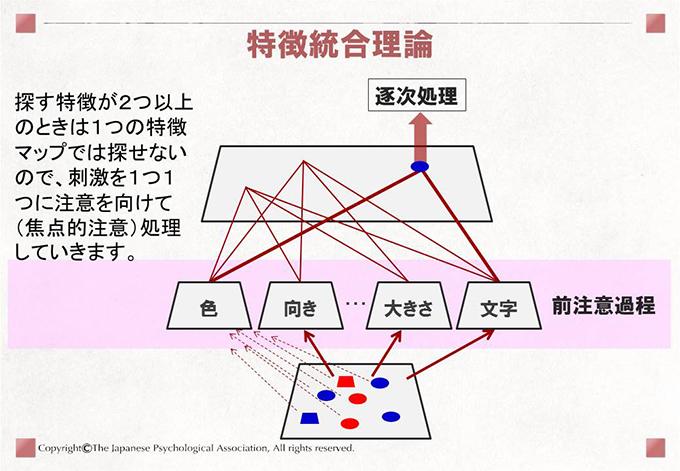 特徴統合理論 探す特徴が2つ以上のときは1つの特徴マップでは探せないので、刺激を1つ1つに注意を向けて(焦点的注意)処理していきます。