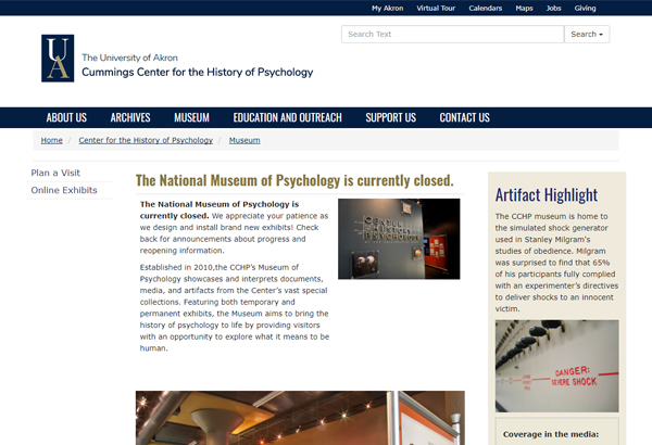 The National Museum of Psychology(米国国立心理学博物館)